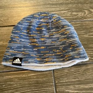 Adidas Reversible Blue Striped and Gray Beanie